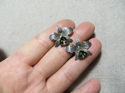 1920s Art Deco Jewelry: Earrings, Necklaces, Brooch, Bracelets Art Deco 30-40's 925 Sterling Silver Orchid Stud Flower Earrings Very Detailed   $34.99 AT vintagedancer.com