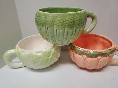 Charming Vegetable themed soup/mugs-Carrot -Asparagus  & Cabbage - vintage.. Cabbage Vegetable Soup