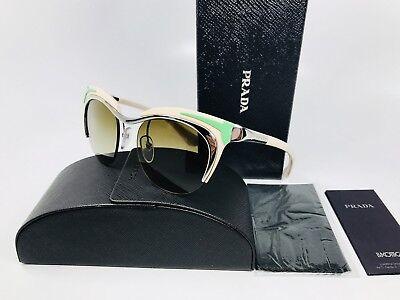 New Authentic Prada SPR 61O 1BC-1x1  Beige & Green Sunglasses 49mm Box Set