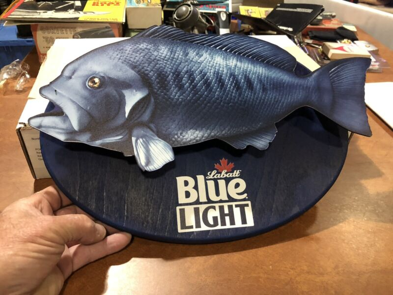 "LABATT BLUE BASS 5/8"" PAINTED PLYWOOD PLAQUE. BRAND NEW."