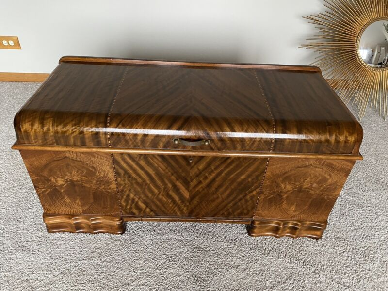 Antique Waterfall Genuine Roos Sweetheart Cedar Chest with Sliding Drawer