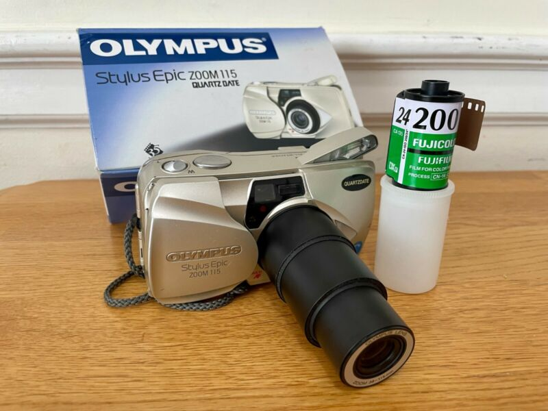 Olympus Stylus Epic Zoom 115 35mm Film Point & Shoot Camera Tested Works,