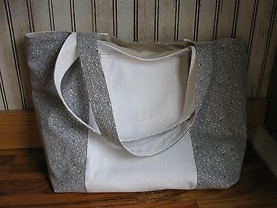 Handmade 3-Stripe White & Floral Recycled Denim Large Tote Bag Purse Pocket NEW