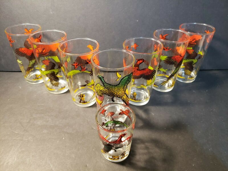 Vintage Hazel Atlas  Drinking Glasses Set Of 8 Pheasant Hunting Retro 1950s