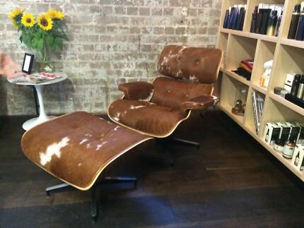 Beautiful Eames Replica Chair & Foot Stool Brown Hide Surry Hills Inner Sydney Preview