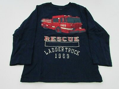 Baby Gap Boys' T Shirt vintage fire truck 3 years navy blue long sleeves new