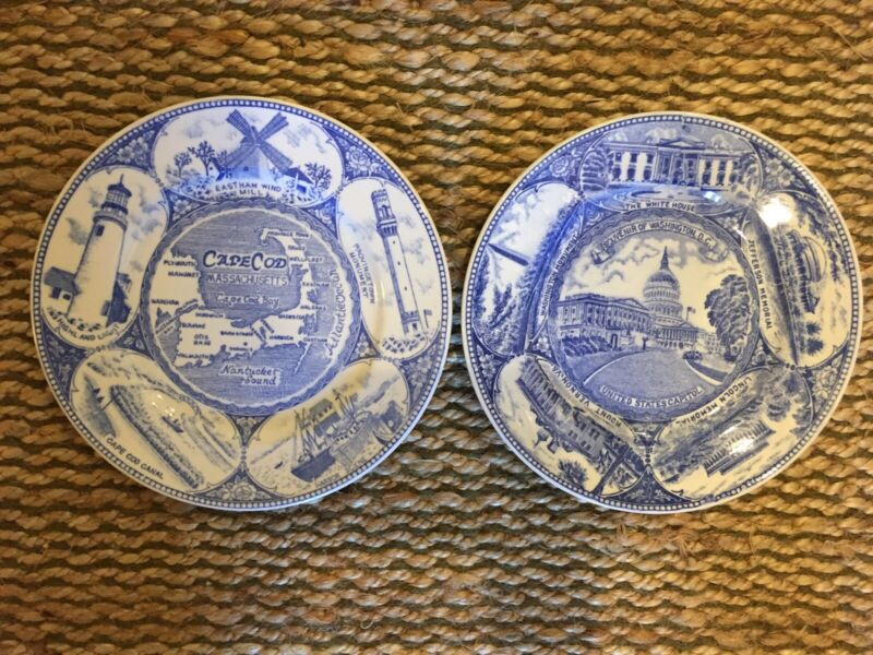 Vintage 2 Historic Plates United States Capitol And Cape Cod