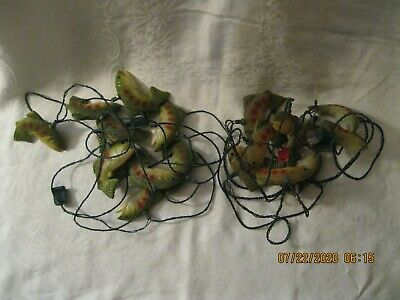 2 Sets Of 10 Vintage Blow Mold Fish String Lights RV Camping Patio Garden Party