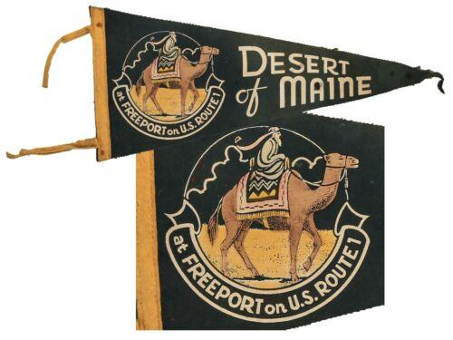 ⭐ L@@K ⭐ Desert of Maine Camel ⭐ Vintage Souvenir Felt Pennant ⭐ Keezer Pennant