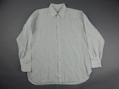 Luigi Borrelli Napoli White Striped Linen Cotton Dress Shirt Men's 16.5 35