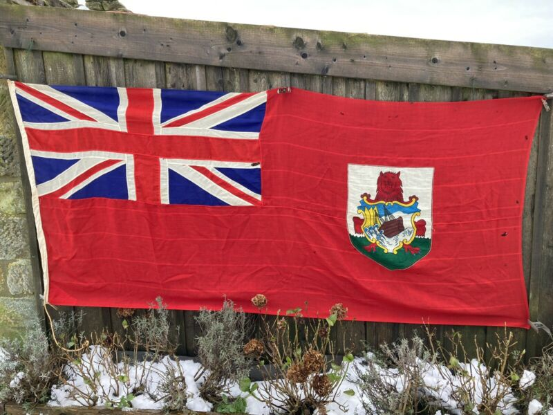 Antique/Vintage Bermuda Ensign Flag Union Jack Panel Stiched