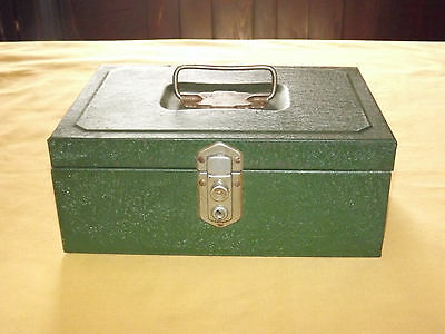 Vintage Green Metal Cash Drawer Box