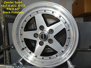 GENUINE-ZENDER-SPORT-WHEEL-15x7-BLACK-POLISHED-5x112-MERCEDES-ALLOY-MAG-SPARE
