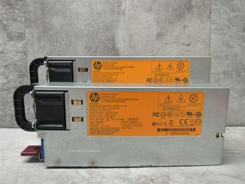 2 LOT - DL380P DL385P G8 750W Server Power Supply - HSTNS-PL29 660183-001