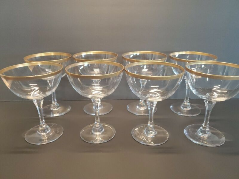 Set of 8 Lenox Crystal Tuxedo Champagne Coupe Glasses Gold Encrusted