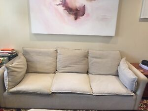 Light grey (off-white) fabric couch