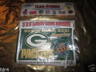 Green Bay Packers 1996 NFL Super Bowl Xxxi 31 Champions Fahne Banner Neu Vintage