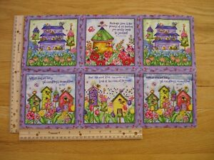 Birdhouse Flowers Gardens Spring Debi Hron  Cotton Quilt Fabric Panel Blocks (6)