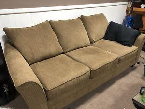 Allen Chenille Studio sized Taupe Sofa