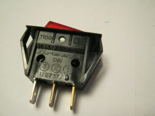 Dreefs Illuminated Rocker Switch - SPST - 125V 25A - Lighted RED - Snap-in