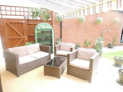 4 Piece Rattan Garden Patio Furniture Set - Brown