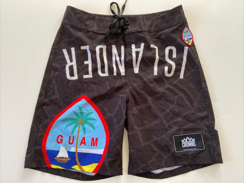Crowns West Pacific Clan Guam Black Board Shorts Surf Trunks Swim 32 Islanders