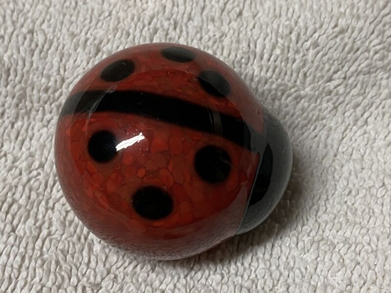 """Glass Lady Bug - Red & Black 1 3/4"""" in Length"""