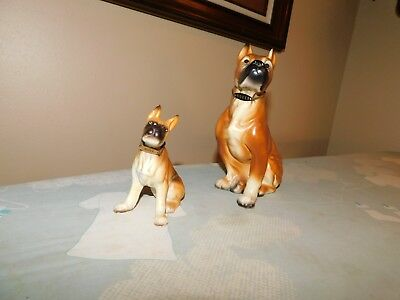 Enesco Boxer Figurines both with Metal Tags Vintage