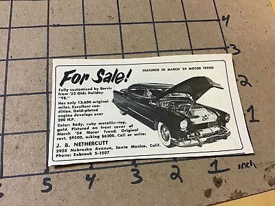 "vintage original 1955 removed Ad: -- 1952 OLDS HOLIDAY ""98"" FOR SALE --"