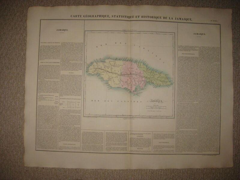 HUGE GORGEOUS ANTIQUE 1825 JAMAICA CARIBBEAN WEST INDIES CAREY & LEA HANDCLR MAP