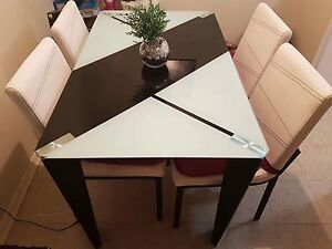 Modern Dining Room Table Set - Glass Top