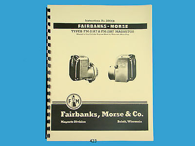 Fairbanks Morse Magneto Instruct Parts Manual For Fm-j1a7 Fm-j1b7 Mags 423