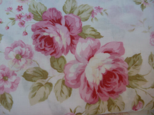 Lecien Fancy Fabric Collection Large Pink Roses on White Out of Print. HTF