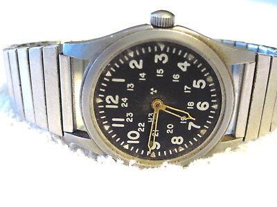 AUG,1981 MANS HAMILTON H3 MILITARY WATCH  MIL-W-46374B WORKS, NO CRYSTAL/