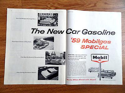 1959 Mobil  Mobilgas Special Ad Chevrolet Ford Fairlane Pontiac New Cars