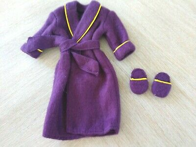1998 BARBIE DOLL KEN FASHION AVENUE PURPLE ROBE NIGHT CLOTHES WITH SLIPPERS Ken Fashion Doll