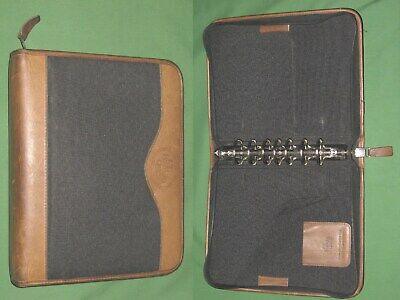 Classic 1.5 Black Nylon Brown Leather Franklin Covey Quest Planner Binder