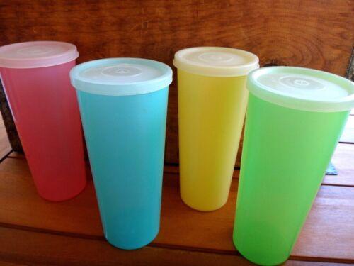 8 Pcs.~Vintage Tupperware 16 Oz. Pastel~Green/Blue/Yellow/Pink Tumblers & Lids
