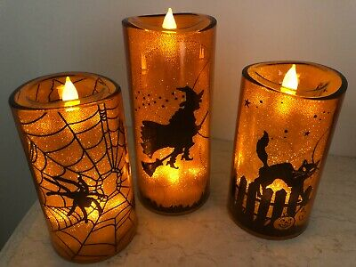 3 VINTAGE INSPIRED HALLOWEEN LED CANDLES FLICKERING *SPOOKY* WITCH SPIDER CAT