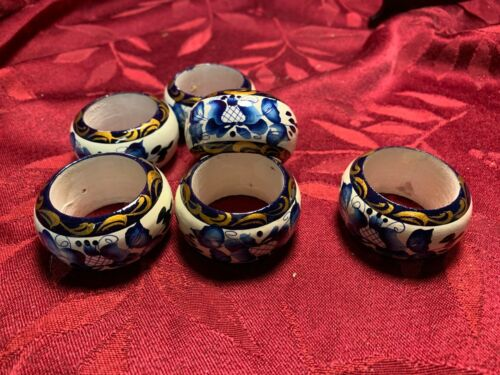 Vintage Set of 6 Painted Wooden Napkin Rings Blue Floral on White with Gold Trim