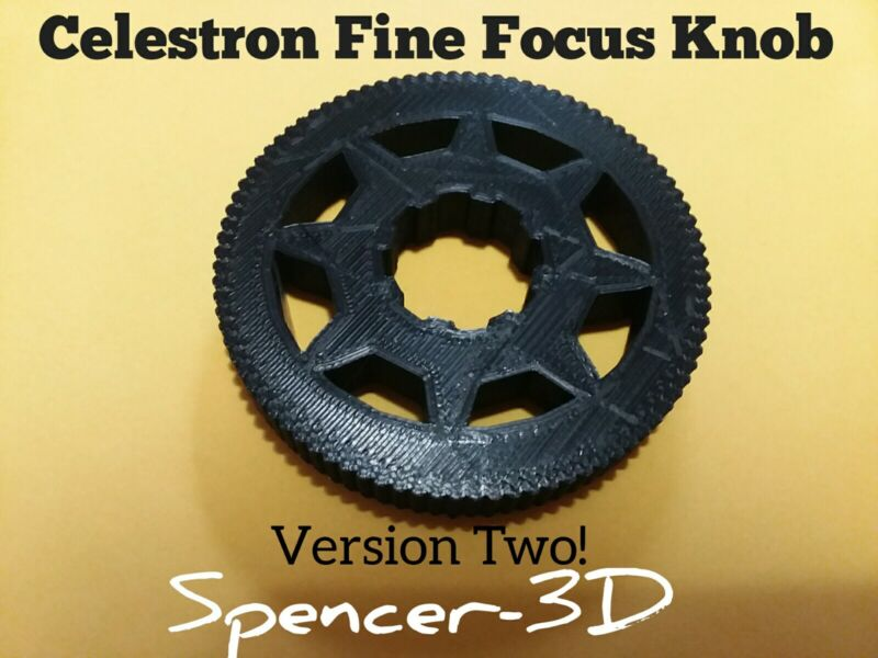 Fine Focus Knob for Celestron Telescopes, version two with new design.  O.D 70mm