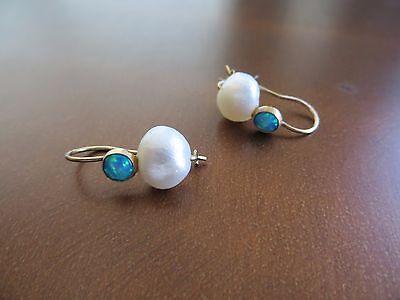 "Victorian /Art Deco 14k solid Yellow Gold White Pearl/Opal Hook Earrings 1"""