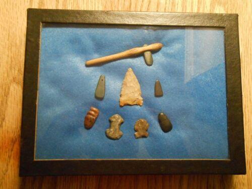 Indian Artifacts Arrowheads slate pendant double groove axe celt adze Hoe