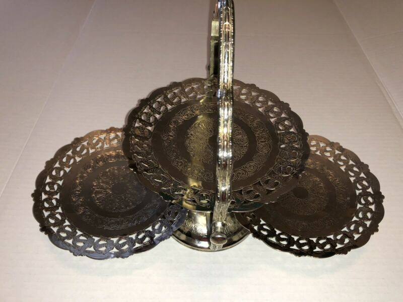 Vintage Silver Plated Sheffield Folding Hinged 3 Tier Candy Dish Bon Bons Nuts