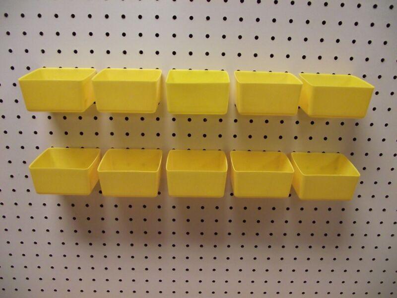 Small Plastic Yellow Pegboard Storage/Part Bins -10 Pack, JSP Brand
