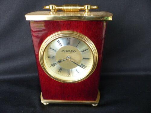 Movado carriage clock desk mantle shelf solid mahogany little use