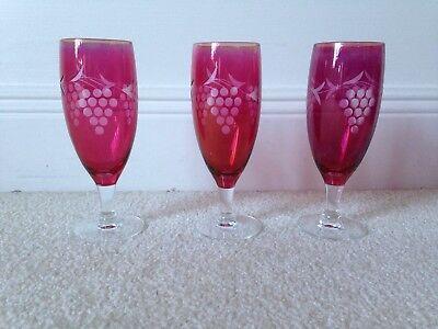 (3) Vintage Cranberry Flash Etched Stemware Glasses, Champagne, Wine,