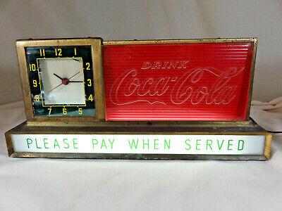 RARE vintage 50's Coca Cola Light up CLOCK Sign ~ drink Coca Cola ~ works!