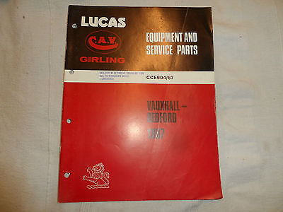 LUCAS PARTS CATALOGUE FOR 1967 VAUXHALL BEDFORD CAR & COMMERCIAL