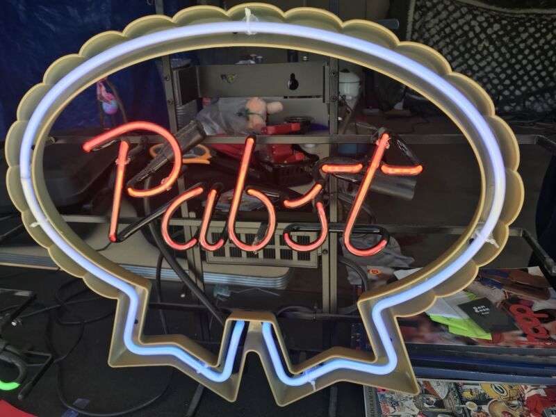 pabst blue ribbon lighted beer sign